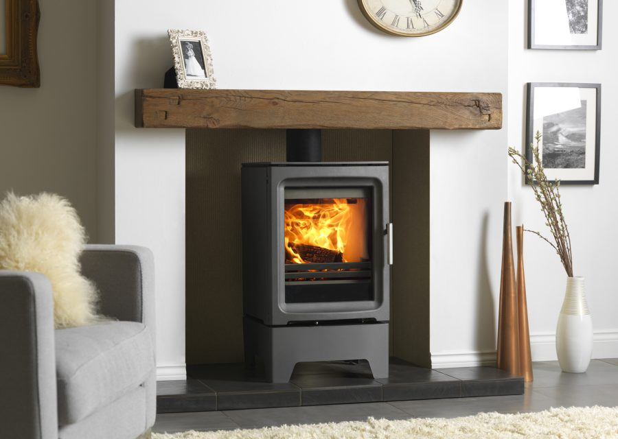 Purevision 5K W Freestanding Stove On Stand In Inglenook