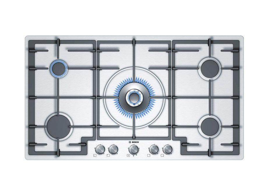 Bosch 5 Burner Gas Hob In Brushed Steel With Wok Style Central Burner