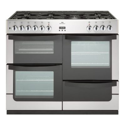 New World 100Cm Wide Dual Fuel Freestanding Range Cooker In Stainless Steel