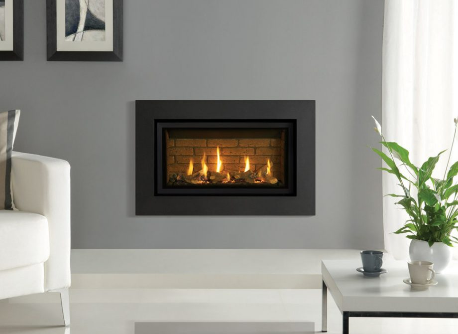 Studio 1 Slimline Expression Steel In Graphite With Brick Effect Fuel Bed And Vermiculite Lining