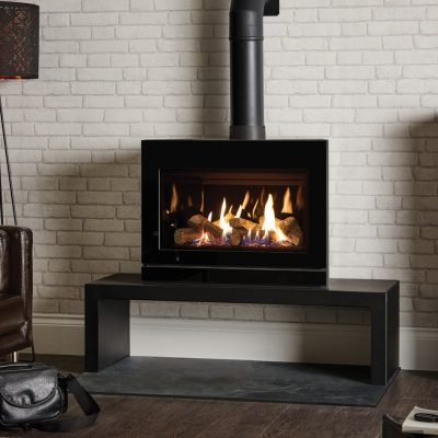 Riva2 F670 Glass Gas Stove With Black Glass Lining On Riva 120 High Bench
